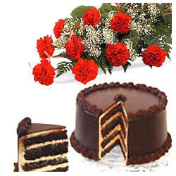 A bunch of 12 carnation with 1 kg Chocolate Cake flowers delivery in A bunch of 12 carnation with 1 kg Chocolate Cake