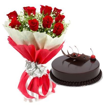 10 Red Roses in Red & white paper with 1/2kg Truffle Cake flowers delivery in 10 Red Roses in Red & white paper with 1/2kg Truffle Cake