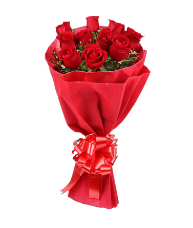 10 Red Roses in Red Paper Packing flowers delivery in 10 Red Roses in Red Paper Packing