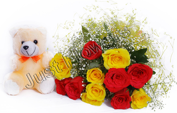 12 Red & Yellow Roses with Small Teddy