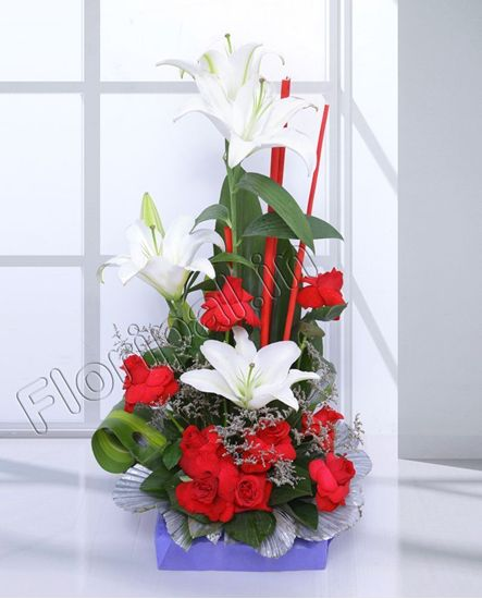 Lily and roses basket