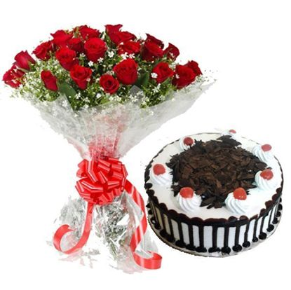 Flowers and cake Combo