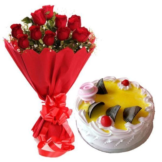 Roses and cake delivery