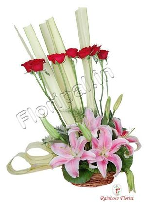 lily roses basket