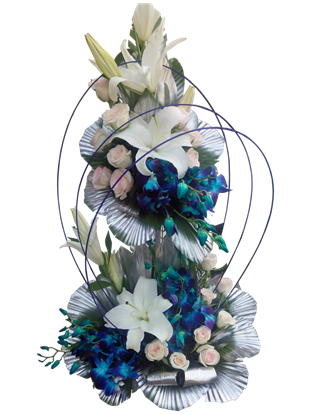 two tier arrangement of fresh flowers
