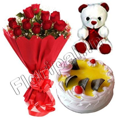 flowers cake teddy combo