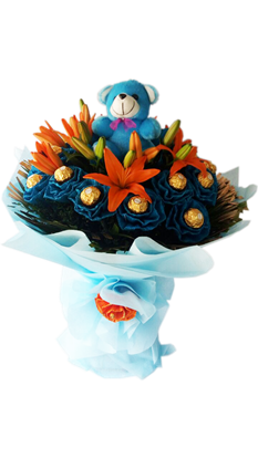 orange lily bouquet with chocolates and teddy