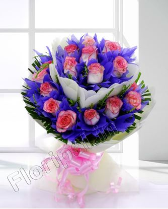 25 pink rose bunch