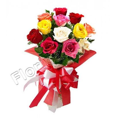 12 Mixed Colour Roses