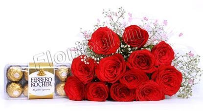 tempting chocolates with red roses
