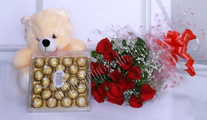 "24pc Ferrero Rocher Chocolate With Bunch of 12 Red Roses and Small 6"" Teddy"