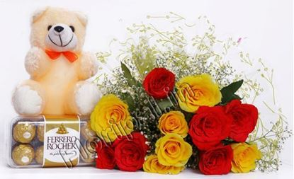 ferrero,Teddy and Roses bunch
