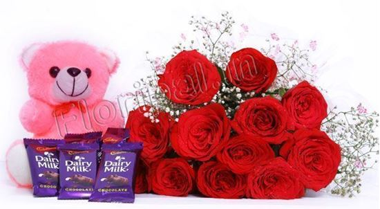 Bunch Of 12 Red Roses And Small Dairy Milk Chocolates With 6 Inches