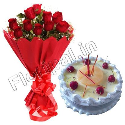 Roses with pineapple cake