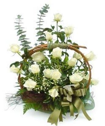 25 White Roses arranged in a basket