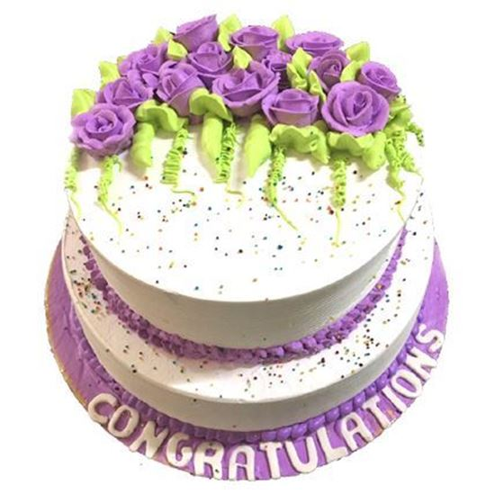 Kg White and Purple 2 Tier Cake