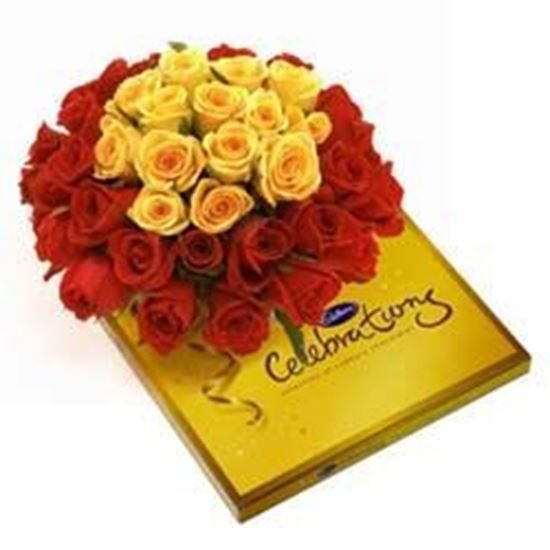 A bunch of 30 Mix Roses with Cadbury Celebration pack Big