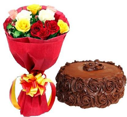 Red Roses with Choco Roses Cake