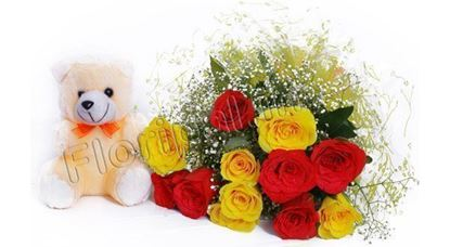 12 mix roses with a small teddy
