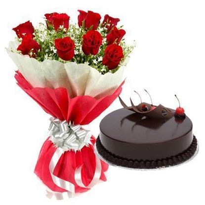 Roses and Chocolate  Truffle Cake Delivery