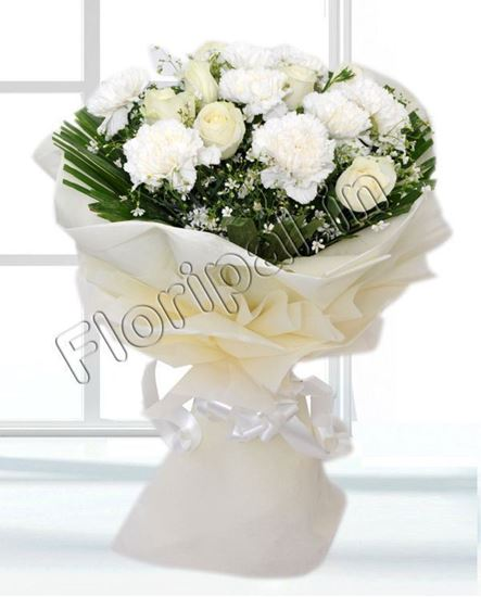Send white flowers flowers delivery send roses bunch of dozen white carnation and roses mightylinksfo