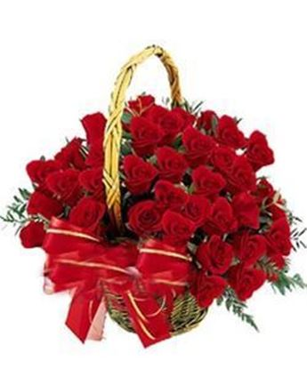 Round Basket of 40 Red Roses