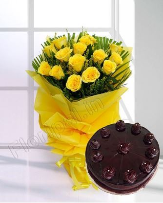 12 Yellow Rose with Cake
