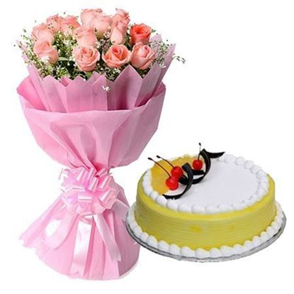12 Pink Roses in Paper with 1/2kg Pineapple Cake