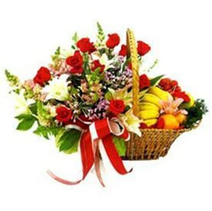 Mix Flowers and Mix Fresh Fruits basket