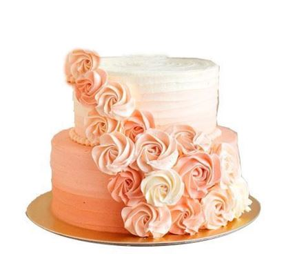 3kg two tier Peach Cream Wedding Cake
