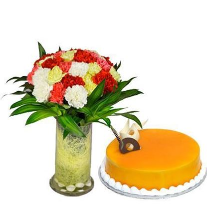 Carnations in Vase with Cake