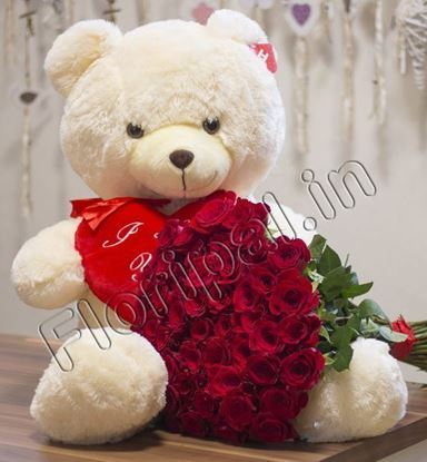 Big Teddy with Roses