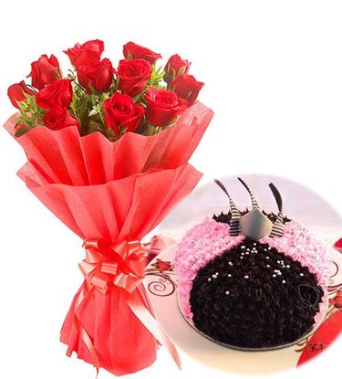 12 Red Roses with 1Kg Choco Straberry Cake