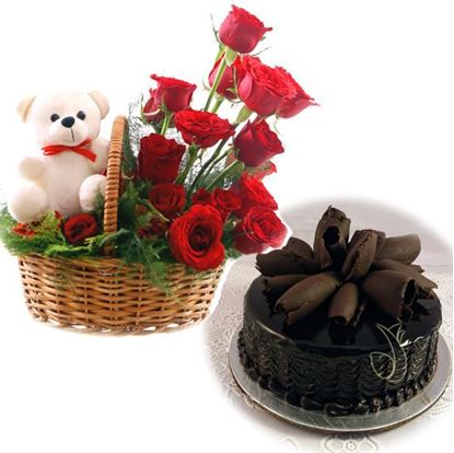 Roses & Teddy with Chocolate Roll Cake