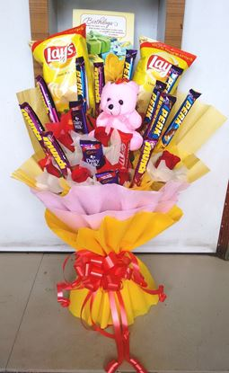 Cute Teddy And Chocolate Bouquet For Home Delivery in Noida