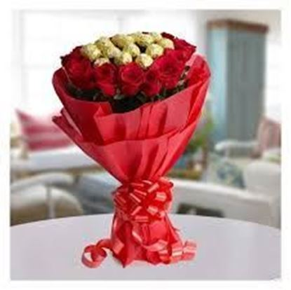 Ultimate Combo of Ferraro Rocher and Red Rose in a Bouquet