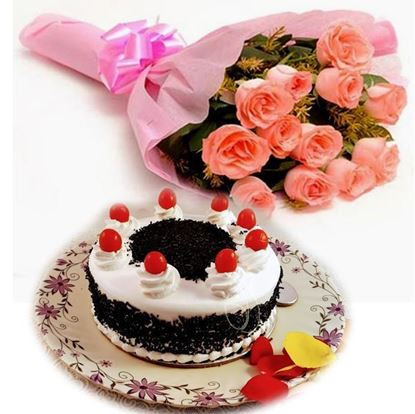 12 Pink Roses Bunch with 1/2 kg Black Forest Cake
